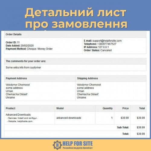 Детальний лист про замовлення адміну Opencart 3