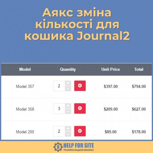 Аякс зміна кількості для кошика Journal2